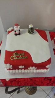 Christmas fruit cake simply decorated