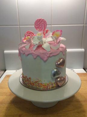 White Chocolate Mud with White Chocolate Ganache and pink chocolate drip