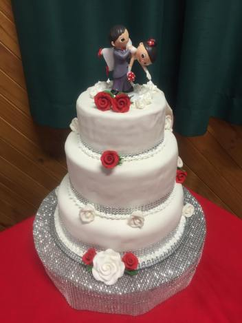 Other side of Cake of Adam and Amita's Wedding Cake