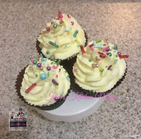 Vanilla cupcakes with American Buttercream and sprinkles